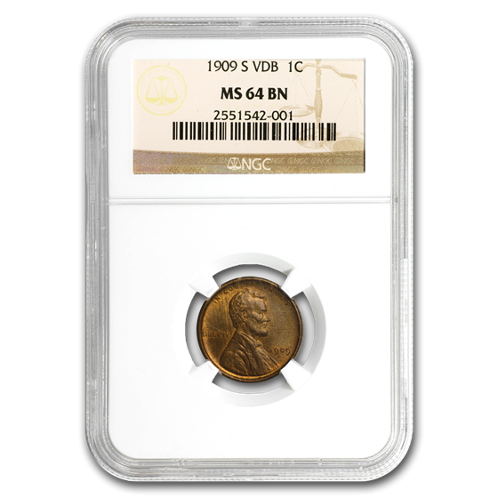 1909-S VDB Lincoln Cent MS-64 NGC CAC (Brown)