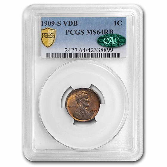 1909-S VDB Lincoln Cent MS-64 PCGS CAC (Red/Brown)