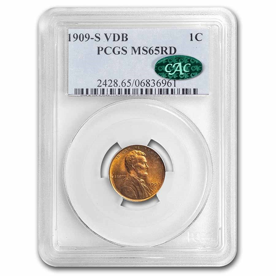 1909-S VDB Lincoln Cent MS-65 PCGS CAC (Red)