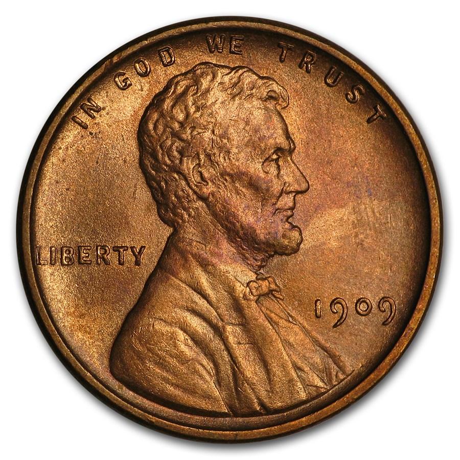 1909 VDB Lincoln Cent BU (Red/Brown)