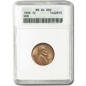 1909 VDB Lincoln Cent MS-64 ANACS (Red)