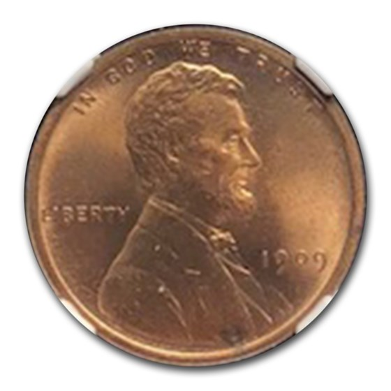 1909 VDB Lincoln Cent MS-66 NGC (Red/Brown)