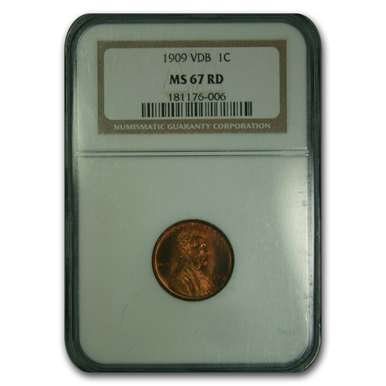 1909 VDB Lincoln Cent MS-67 NGC (Red)