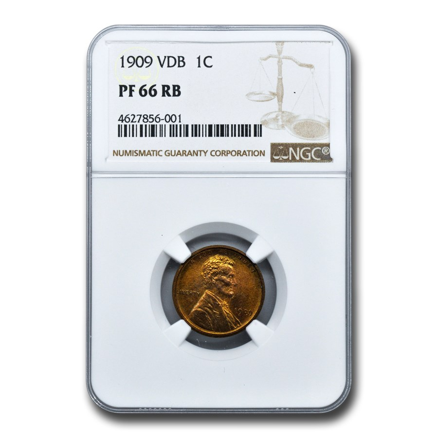 1909 VDB Lincoln Cent PF-66 NGC (Red/Brown)