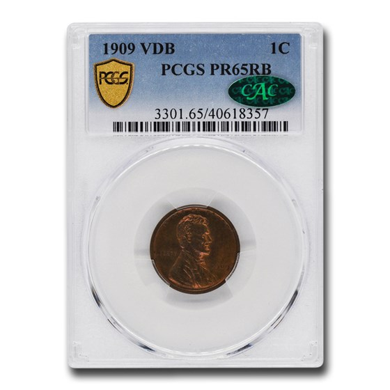 1909 VDB Lincoln Cent PR-65 PCGS CAC (Red/Brown)