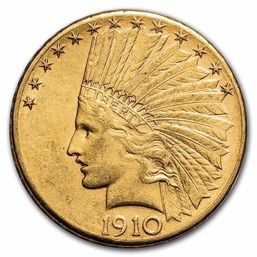 1910 $10 Indian Gold Eagle AU