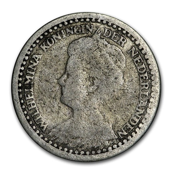 1910-1925 Netherlands Silver 10 Cents Wilhelmina I Avg Circ