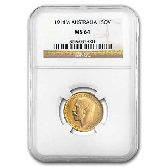 1910-1936 Australia Gold Sovereign George V MS-64 PCGS/NGC