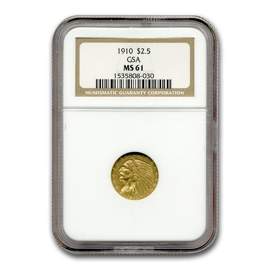 1910 $2.50 Indian Gold Quarter Eagle MS-61 NGC (GSA)