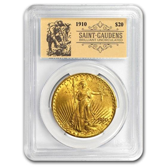 1910 $20 Saint-Gaudens Double Eagle BU PCGS (Prospector Label)