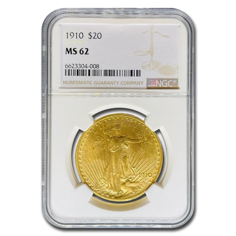 1910 $20 Saint-Gaudens Gold Double Eagle MS-62 NGC