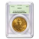 1910 $20 Saint-Gaudens Gold Double Eagle MS-62 PCGS