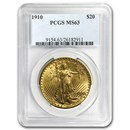 1910 $20 Saint-Gaudens Gold Double Eagle MS-63 PCGS