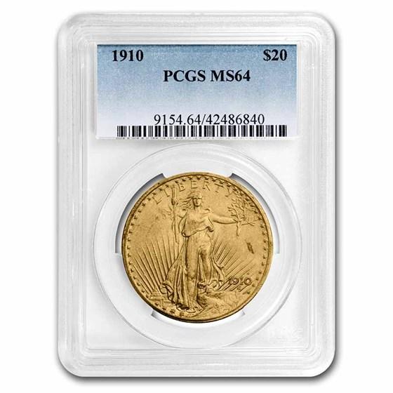 1910 $20 Saint-Gaudens Gold Double Eagle MS-64 PCGS