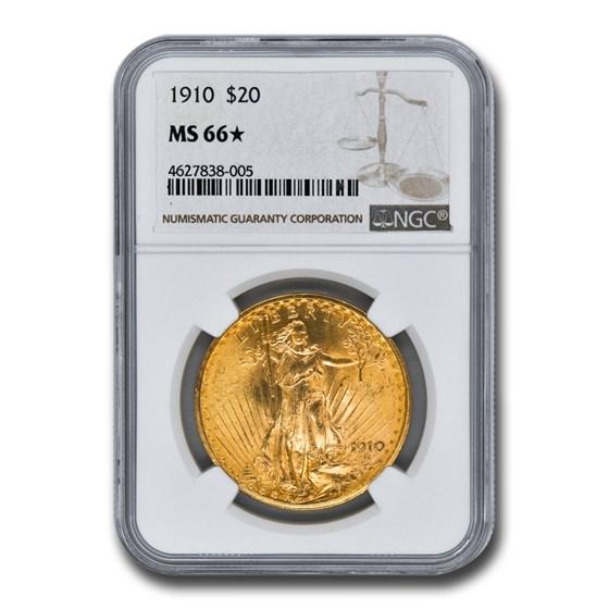 1910 $20 Saint-Gaudens Gold Double Eagle MS-66* NGC