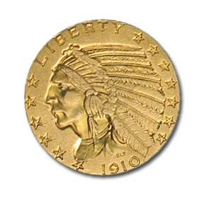 1910 $5 Indian Gold Half Eagle AU