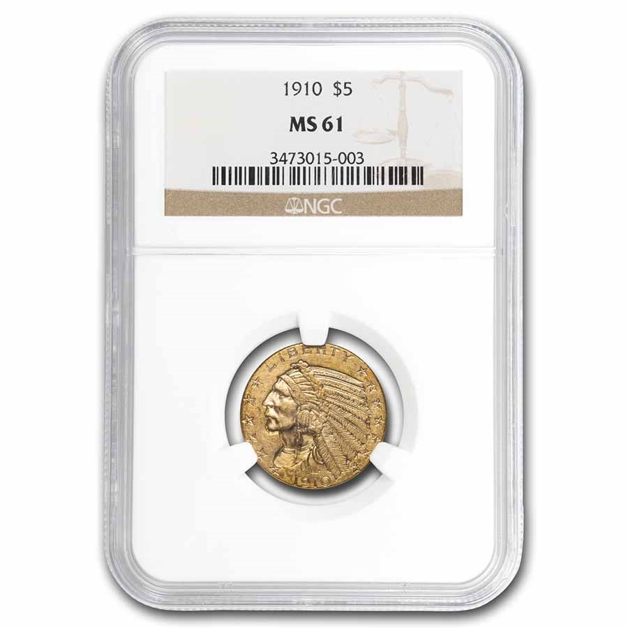1910 $5 Indian Gold Half Eagle MS-61 NGC