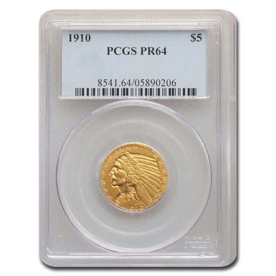 1910 $5 Indian Gold Half Eagle PR-64 PCGS
