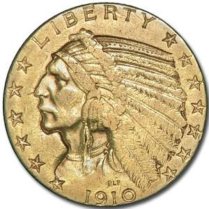 1910 $5 Indian Gold Half Eagle XF