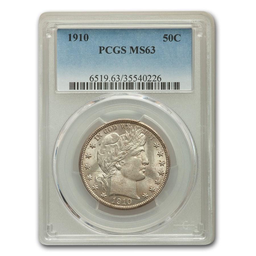 1910 Barber Half Dollar MS-63 PCGS