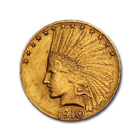 1910-D $10 Indian Gold Eagle AU