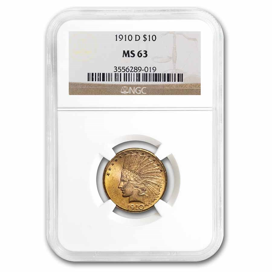1910-D $10 Indian Gold Eagle MS-63 NGC