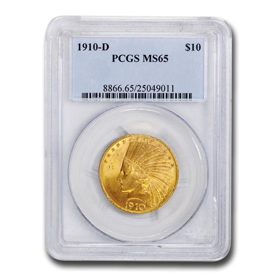 1910-D $10 Indian Gold Eagle MS-65 PCGS