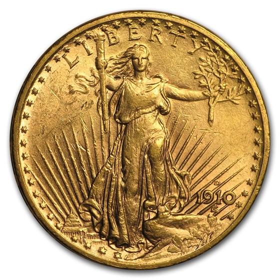 1910-D $20 Saint-Gaudens Gold Double Eagle AU