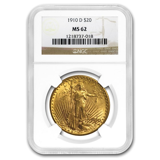 1910-D $20 Saint-Gaudens Gold Double Eagle MS-62 NGC