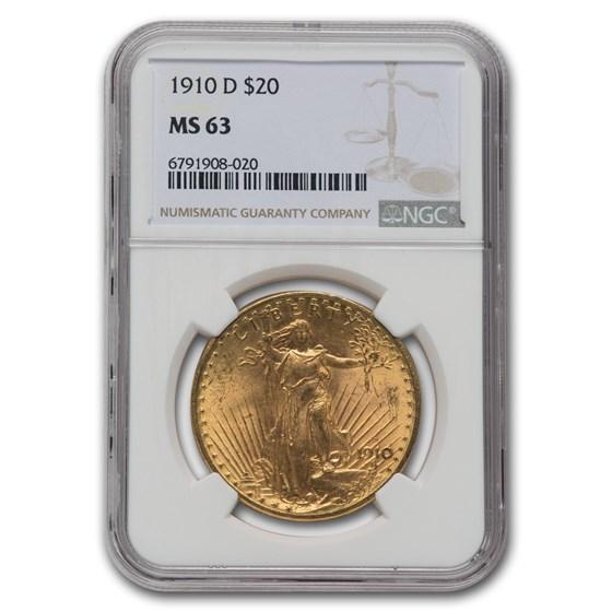 1910-D $20 Saint-Gaudens Gold Double Eagle MS-63 NGC