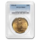 1910-D $20 Saint-Gaudens Gold Double Eagle MS-63 PCGS