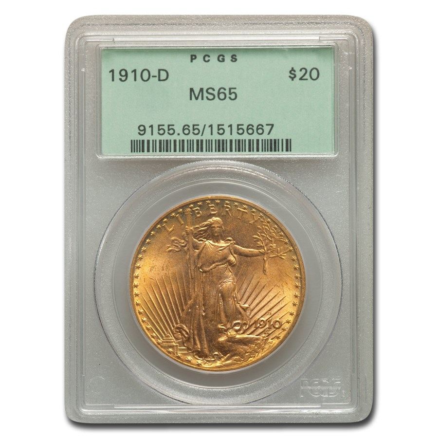 1910-D $20 Saint-Gaudens Gold Double Eagle MS-65 PCGS