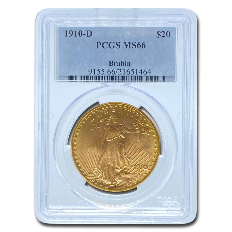 1910-D $20 Saint-Gaudens Gold Double Eagle MS-66 PCGS