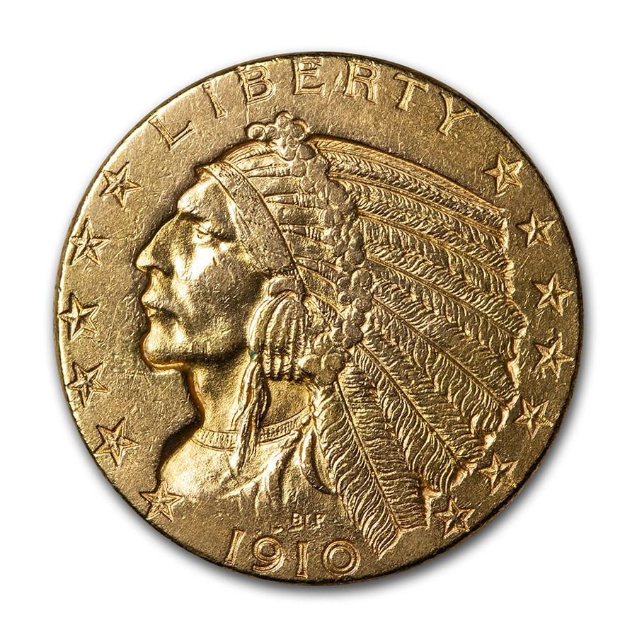 1910-D $5 Indian Gold Half Eagle AU