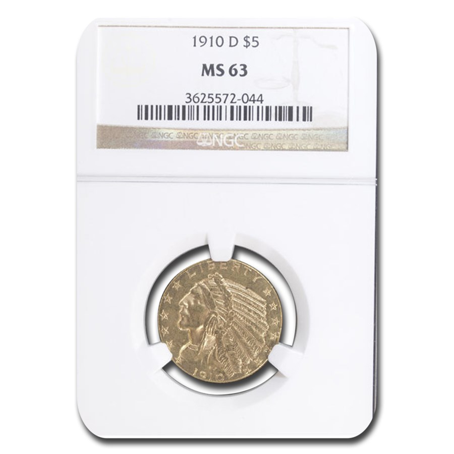 1910-D $5 Indian Gold Half Eagle MS-63 NGC