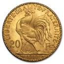 1910 France Gold 20 Francs Rooster BU