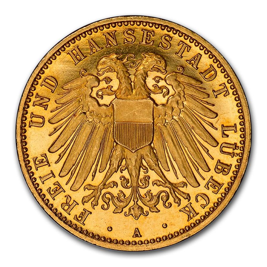 1910 German States Lubeck Gold 10 Mark PF-66 NGC (UCAM)