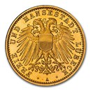 1910 German States Lubeck Gold 10 Mark PF-67 NGC (UCAM)