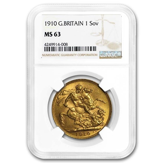 1910 Great Britain Gold Sovereign Edward VII MS-63 NGC