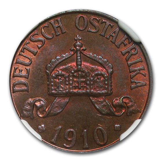 1910-J German East Africa Bronze 1 Heller MS-65 NGC (Red-Brown)