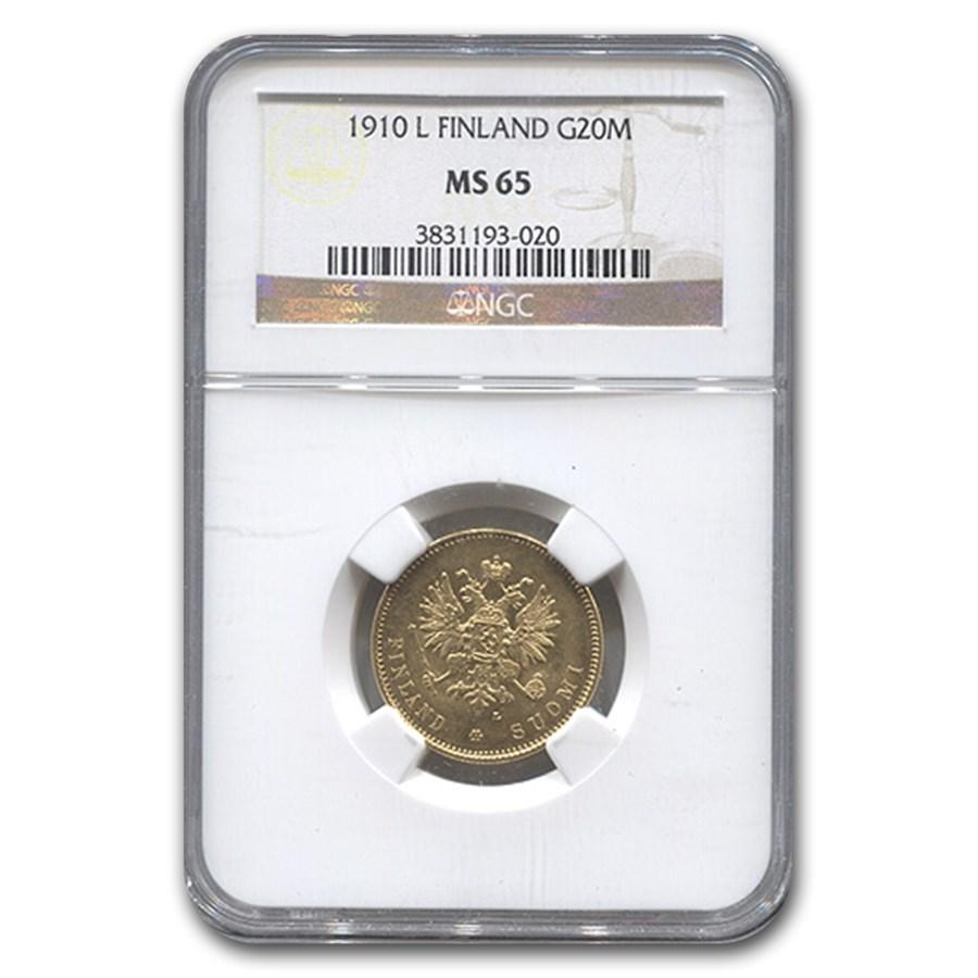1910-L Finland Gold 20 Markkaa MS-65 NGC