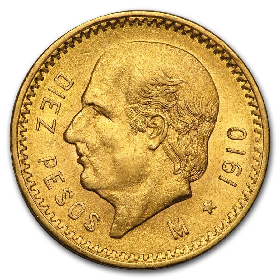 1910 Mexico Gold 10 Pesos BU