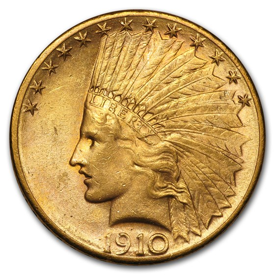 1910-S $10 Indian Gold Eagle AU