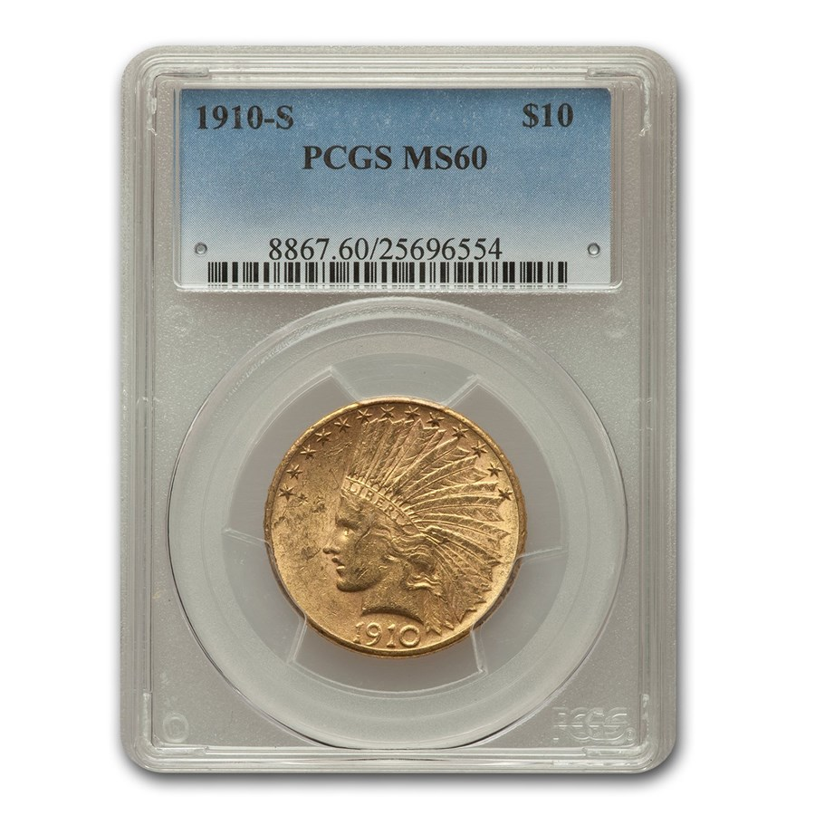 1910-S $10 Indian Gold Eagle MS-60 PCGS