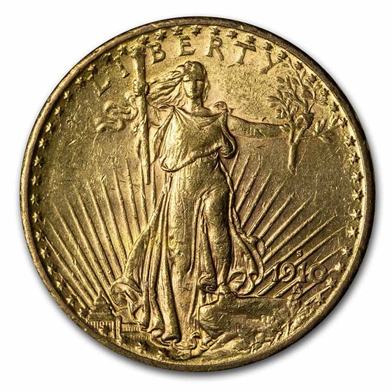 1910-S $20 Saint-Gaudens Gold Double Eagle AU