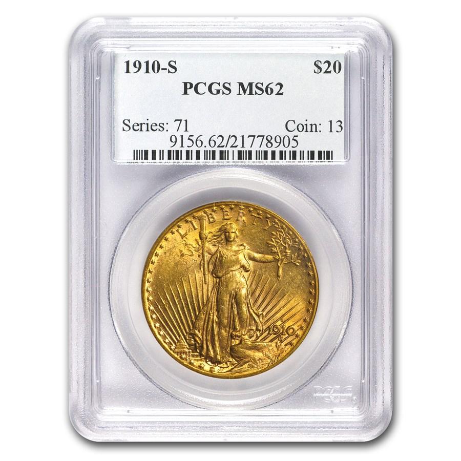 1910-S $20 Saint-Gaudens Gold Double Eagle MS-62 PCGS