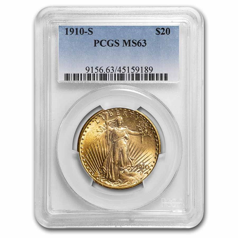 1910-S $20 Saint-Gaudens Gold Double Eagle MS-63 PCGS