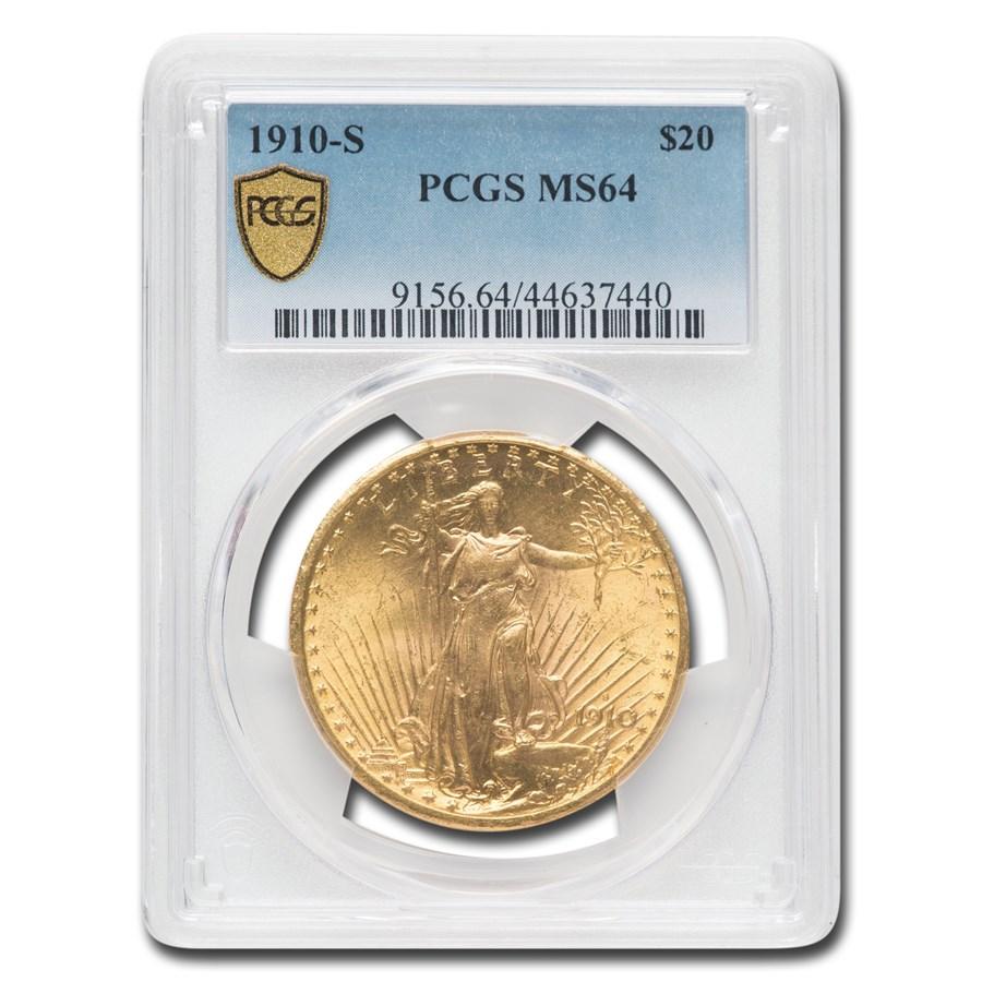 1910-S $20 Saint-Gaudens Gold Double Eagle MS-64 PCGS