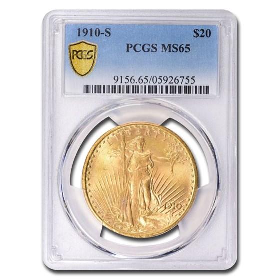 1910-S $20 Saint-Gaudens Gold Double Eagle MS-65 PCGS