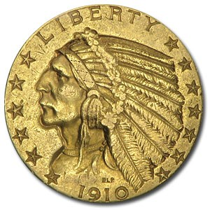 1910-S $5 Indian Gold Half Eagle AU